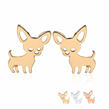 10Pairs Well Defined Chihuahua Baby Dog Earring Copper Materia Gloosy Surface Studs Earrings Accessories Jewelry Can Mix Color(China)