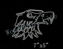 Free Shipping Rhinestone Eagle Head Iron On Transfer(China)