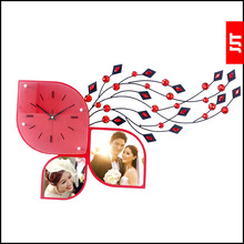Luminousness personalized photo frame diamond living room wall clock fashion brief clock modern silent watch(China)