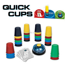 Speed Cup Stacking Game Card Family Games Challenge Kids Quick Reaction Quick Cups Game with 24 Picture Cards, 30 Cups,1 Bell