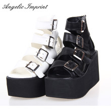 Women Punk Rock Thick Platform Sandals Wedge Shoes Lolita Open Toe Gladiator Sandals Boots BLACK/WHITE(China)