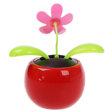 Best Car red Cute Flip Flap Swing Solar Flower(China)