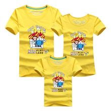 Ming Di Children's Clothing Mother & Kids T shirts Brand Fashion Cotton Cartoon Elephant Family Matching Outfits Summer Top Tees