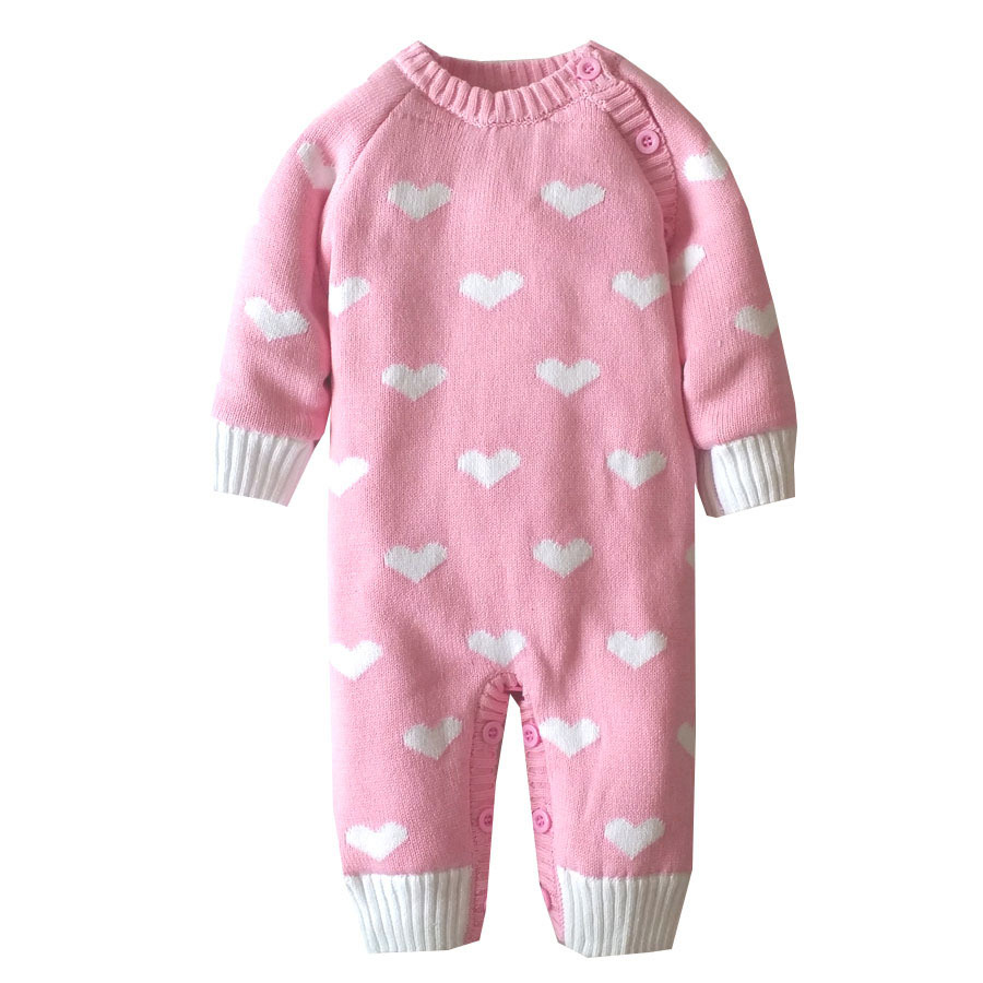 2016 Winter Infant Romper Jumpsuit Plus Thicken Velvet  Newborn Baby Girls Romper Heart-shaped Snowsuit Knitted Sweater Overalls<br>