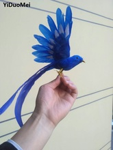 artificial bird about 20x28cm blue feathers bird spreading wings with long tail, handicraft,prop,garden decoration gift p1538(China)