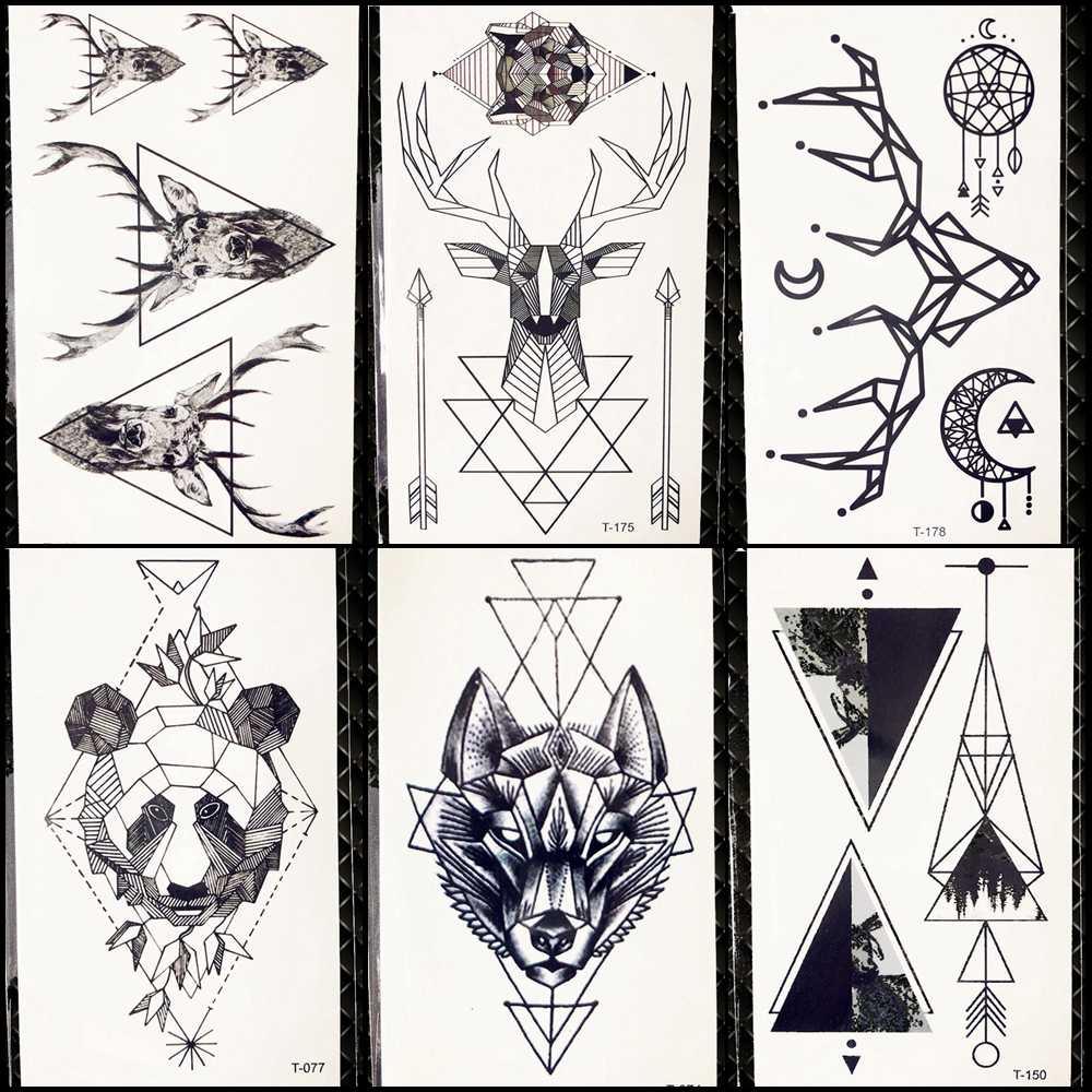 Detail feedback questions about geometric wolf temporary tattoo women deer elk horm small fake pencil sketch tattoo arm sticker panda men chest sexy tatoo