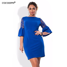 Buy 2017 Autumn Women Lace Dress Elegant Large Size Office Dresses Big Size Flare Sleeve Ladies Dress O-Neck Plus Size Blue Vestidos for $11.64 in AliExpress store