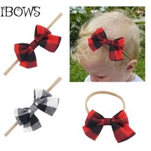 Sweet Girls Plaid Big Fabric Hair Bows Headband Nylon Head Bands For Newborn Photographed props