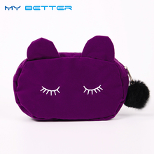 Cute Cat Lady Hairball Zipper Cosmetic Bag Pouch Travel Toiletry Storage Bag Pouch Women Trip Makeup Bag Neceser(China)
