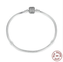 Luxury 925 Sterling Silver Pandora Bracelet Signature Clasp Crystal Snake Chain Bracelet & Bangle Fit Women Bead Charm Jewelry(China)