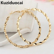 2016 New Fashion Excellent Jewelry Trendy Zinc Alloy Metal Twist Circle Shape Printing Hoop Earrings Women And Ladies Gift E-645