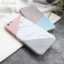Kerzzil Fashion Geometric Triangle Lines Marble texture Case For iPhone 7 6 6S Plus Matte PC Hard Cover For iPhone 6 7 6S Back(China)