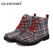 2016 Autumn and Winter Fashion Boots Women Casual Shoes Houndstooth Cotton Martin Boots Ladies Ankle Boots N28