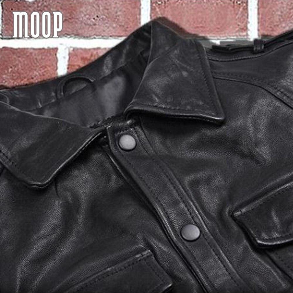 Black genuine leather jacket coat men sheepskin motorcycle jackets chaqueta moto hombre veste cuir homme cappotto LT1081