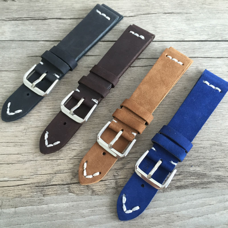 New super soft men and women watch strap Black and blue dark brown khaki Leather handmade Retro 20MM for a variety of brands<br>