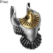 Iftec Hip Hop Punk Gothic Gold Silver 2tone Titanium Stainless Steel Biker Hawk Falcon Eagle Rings For Men Jewelry(China)
