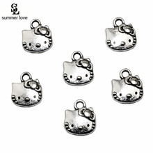 11*13mm 20pcs/lot Charms Handmade Hello Kitty Charm Pendant DIY Antique Silver Plated for Jewelry Making