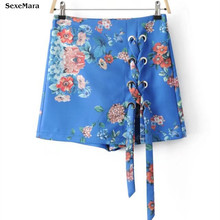 High Waist Shorts Real Pattern Casual Shorts Women 2017 Summer New European And American Women's Cross-lace With Wide Leg(China)