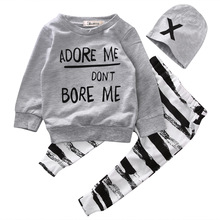 3pcs bulk Newborn Baby Girl Boy Clothes adore me pullover Long Sleeve Tops+Striped Pants +Hat  Outfit Set 6-36M