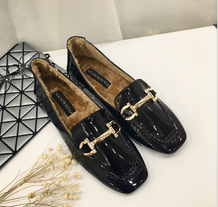 2017 New Arrival PU Patent Leather Women Loafers Slip On Square Toe Warm Fur Boat Shoes Buckle Zapatos Mujuer<br><br>Aliexpress