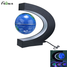 Floating Globe with LED Lights C Shape Magnetic Levitation Floating Globe World Map for Desk Decoration US/EU Plug(China)