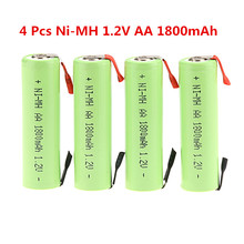 New 4 Pcs Ni-MH 1.2V AA 1800mAh Rechargeable battery for Electric Shaver razor