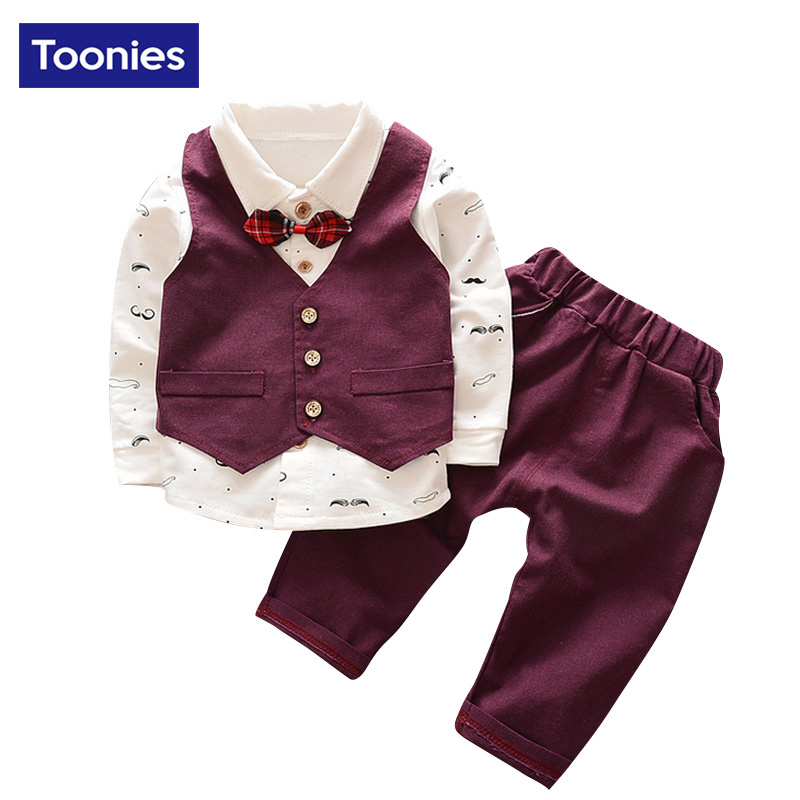 2017 New Fashion Baby Boy Clothes Sets Gentleman 3Pcs Suit Toddler Boys Clothing Set Long Sleeve Kids Boy Clothing Set 3 Color<br><br>Aliexpress