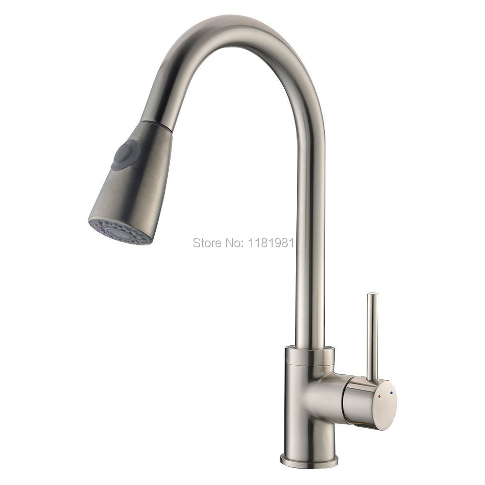 Satin Nickle Brushed Finishing Flexible Hose Pull Out Kitchen Faucet XR8009T<br>