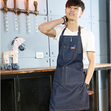 Hot Sale Aprons Denim Simple Antifouling Cowboy Uniform Unisex Aprons for Woman Men's Kitchen Chef Waiter Cooking pinafore WQ009