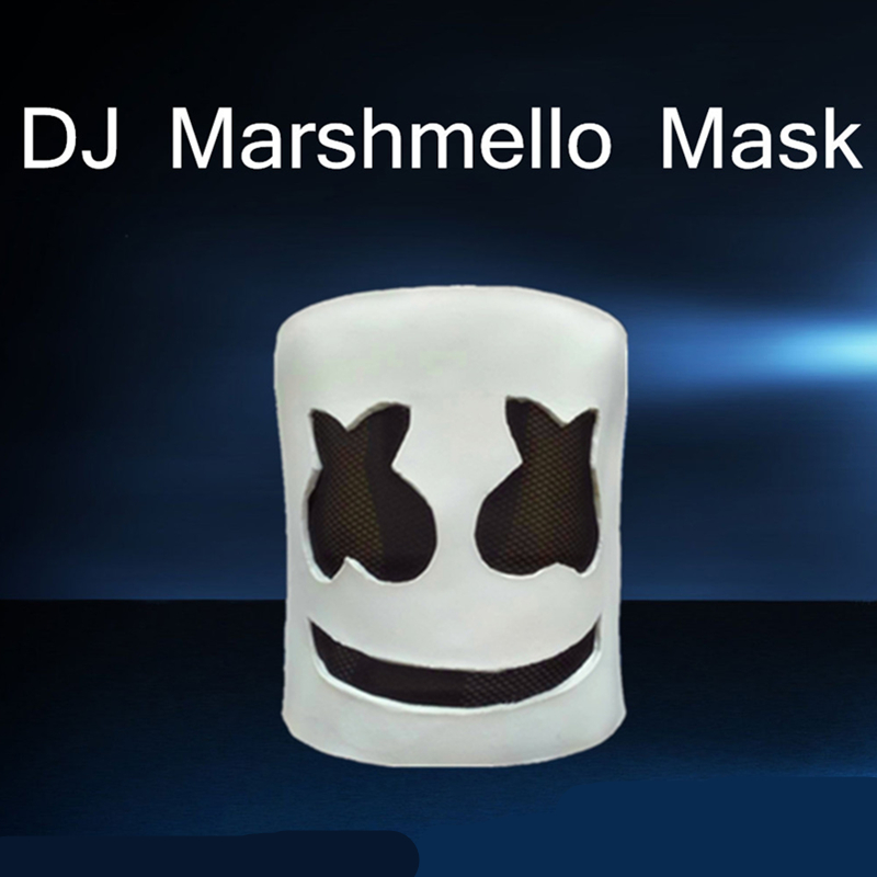New Funny Marshmello Mask Cosplay Costume DJ Tiesto Full Face Latex Helmet Solid Masks Music Party Halloween Props Toys