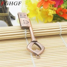 FGHGF usb flash drive pendrive Metal Pure Copper Heart Key Gift USB Flash Drive mini USB stick pendriver 4gb 8gb 16gb 32gb(China)