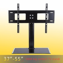 Height Adjustable 37 - 55 inches Black Glass TV Mount Floor Stand LCD Flat Screen TV Wall Mount Bracket