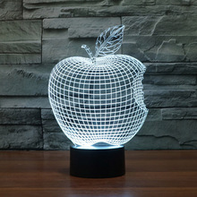Apple Shape Lamp 3D Visual Led Night Lights for Kid Touch USB Table Lampara As Besides Lampe Baby Sleeping Nightlight