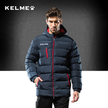 KELME Men Soccer Training Jacket Hooded Winter Keep Warm Coat Training Sport Running Football Jacket K15P010(China)