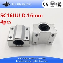 4 pcs/lot SC16UU SCS16UU 16mm linear ball bearing block pillow block for cnc parts SC16