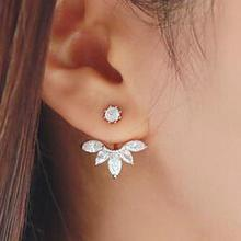 2016 By The Fashion Giant Crystal Earrings High Quality Silver Ear Jacket Leaf Ear  Earrings Wholesale Women Jewelry Retail