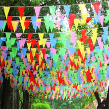 80m Colourful Triangular Flags Banners Bunting Banner Flag Garland Party Decoration Start Business Decor(China)