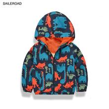 SAILEROAD 2-9Years Cartoon Dinosaur Children Kids Boys Outerwear Jacket Coat Kids Clothes Waterproof Windproof Jacket Clothing
