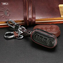 Car Genuine Leather Bag Remote Control Car Keychain Key Cover Case For FIAT 500 Panda Punto Bravo Auto Key ,Car Styling
