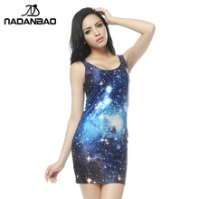 NADANBAO  Dresses Natural Galaxy Dress Digital Print Mini Women casual dress for Party Club Bandage Dress