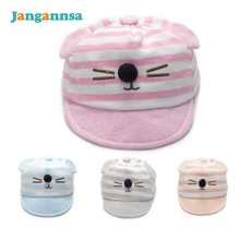 Cat Baby Caps With Ear Cotton Boys Girls Sun Caps Striped Tire Cap Cat Newborn Hat Soft Baby Boy Girl Hats 2017 Baby Accessories