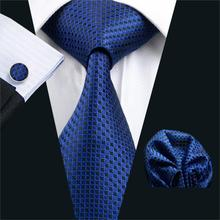 FA-881 Mens Tie Blue Geometric Silk Neck tie Classic Tie Hanky Cufflinks Set Ties For Men Business Wedding Party Free Shipping