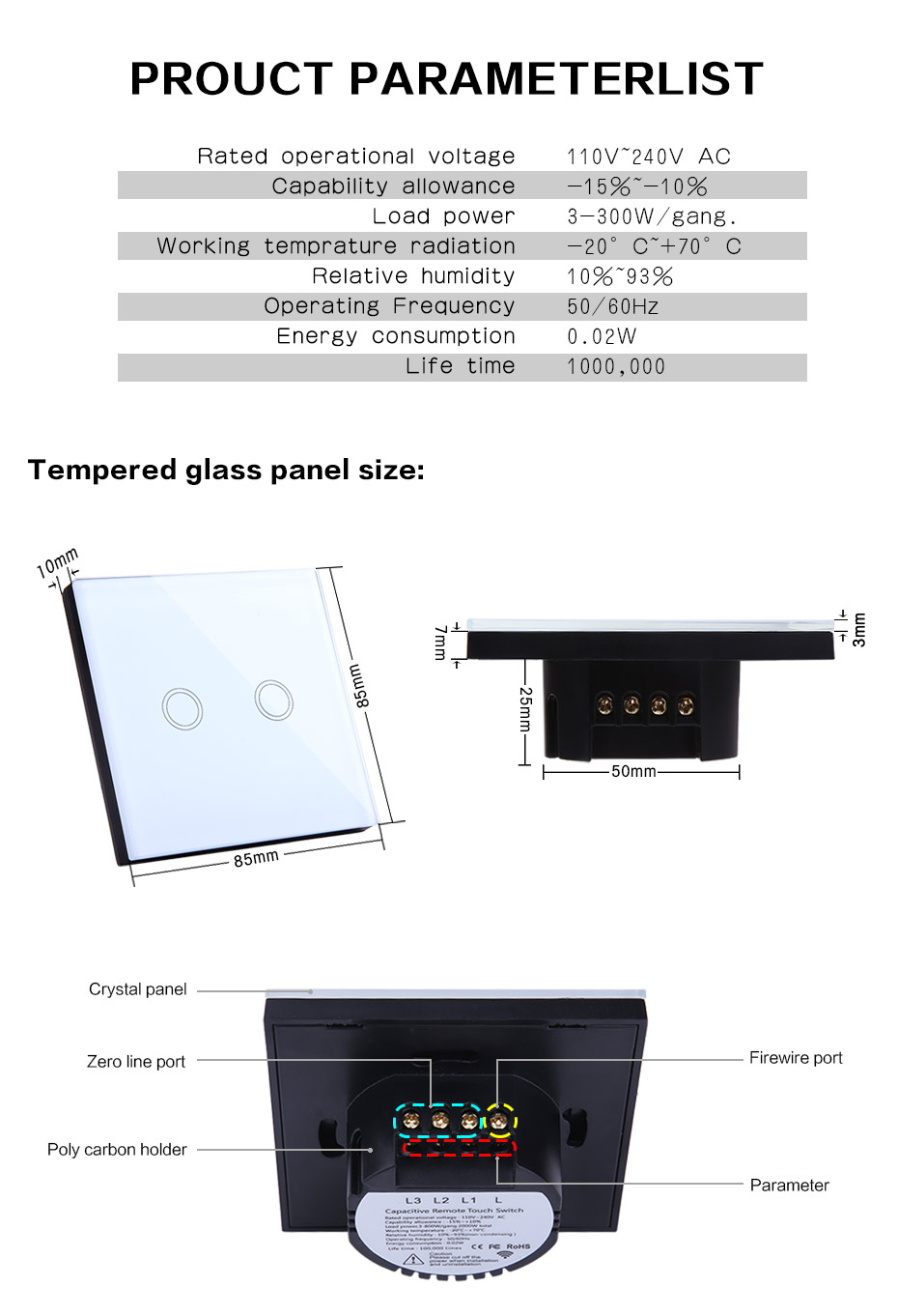 Vhome EU/UK Standard Touch Switch 2 Gang 1 Way Wall Light Touch Switch Crystal Glass Switch Panel,Wireless remote control switch