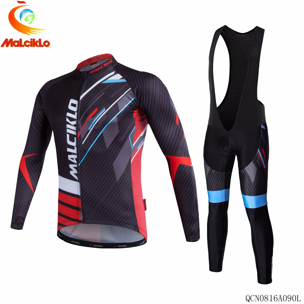 Malciklo Brand 2017 High Newest Pro Fabric Thin Cycling Jersey Wear Long Set Ropa Ciclismo Bike Clothing Pants L023
