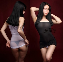 Sexy club DS thin milk silk transparent tube tight skirt bra bag hip skirt Qi B ultra small mini skirt