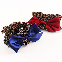 1PC New Leopard Ribbon Big Bow Elastic Hair Band Women Elegant Headband Girls Ponytail Holder Hair Rope Tie Gum Hair Accessories