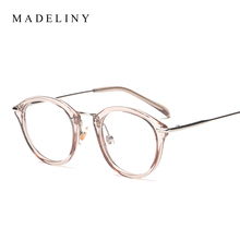 Classic Fashion Women Picture frame Brand Designer Vintage Round Eyeglasses Frame Cat Eye Style Clear Lens Glasses MA199(China)
