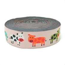 new wholesale 5/8 '(16 mmx10yards) 100% Polyester Woven Jacquard Ribbon Orange green blue and white cow lace KTZD15102815