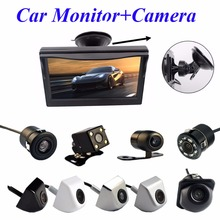 "Viecar 2In1 Car Parking System Kit 5"" Sucker Bracket Color Monitor 5 Inch TFT LCD HD Display Screen+Waterproof Rear View Camera(China)"