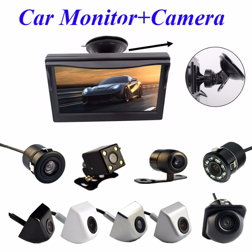 "2In1 Car Parking System Kit 5"" Sucker Bracket Color Monitor 5 Inch TFT LCD HD Display Screen + Waterproof Rear View Camera(China (Mainland))"